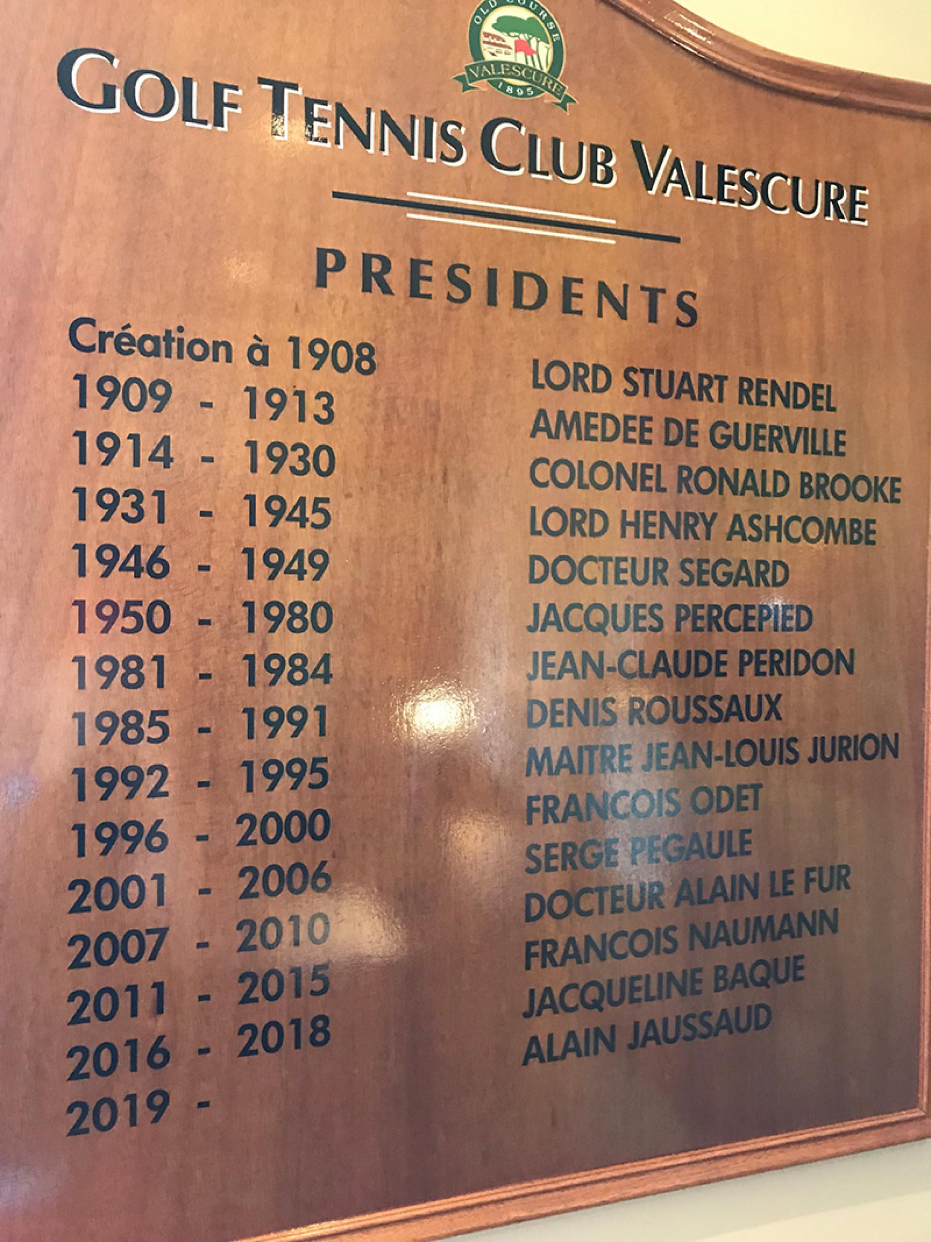 Tableau des Présidents